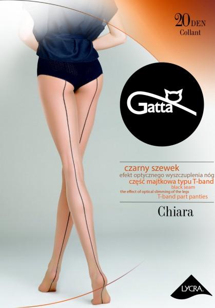 Gatta Chiara - Transparente, hautfarbene Feinstrumpfhose mit schwarzer Naht