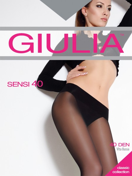 GIULIA Sensi 40 - Glatte Hüftstrumpfhose mit breitem Komfortbund