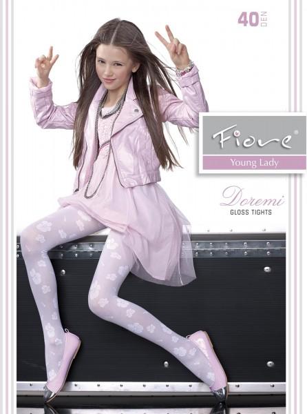 Mädchenstrumpfhose mit blumigem Muster und elegantem Satinglanz Doremi von Fiore