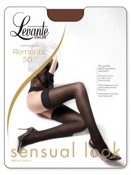Levante Romantic 50 - Blickdichte halterlose Strümpfe mit elegantem Spitzenabchlussband
