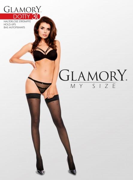 Glamory - Halterlose Strümpfe in Übergrößen mit Pünktchenmuster
