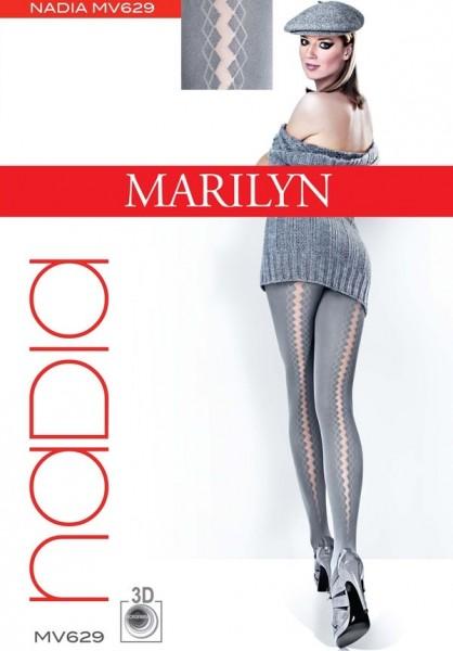 Marilyn Blickdichte Strumpfhosen mit transparentem Streifenmuster auf der Rueckseite Nadia 40 DEN
