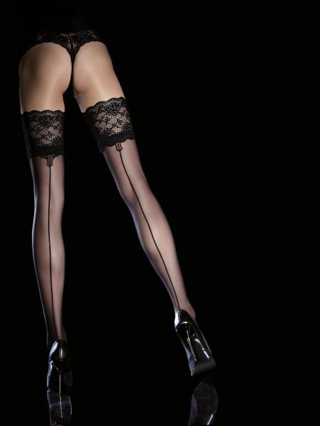 Fiore Leyla - Elegante halterlose Strümpfe mit dekorativer Rücknaht