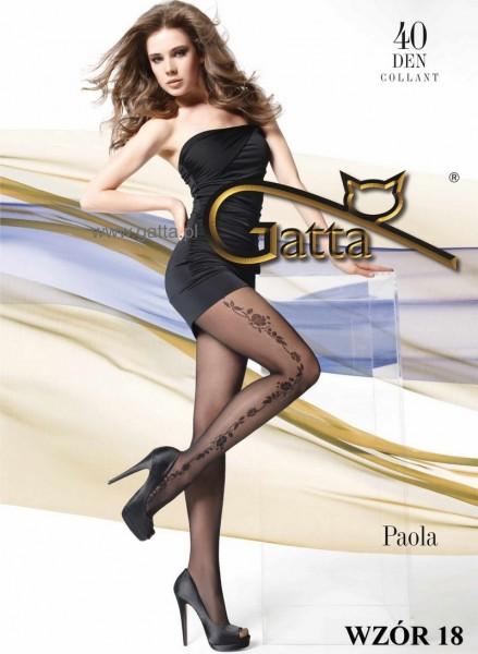 Gatta Elegante Strumpfhosen mit Blumenrankenmuster Paola 18, 40 DEN