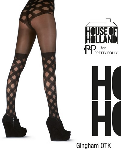 Pretty Polly Strumpfhose mit extravagantem Muster im Overknee-Look Gingham Over The Knee von House of Holland for Pretty Polly