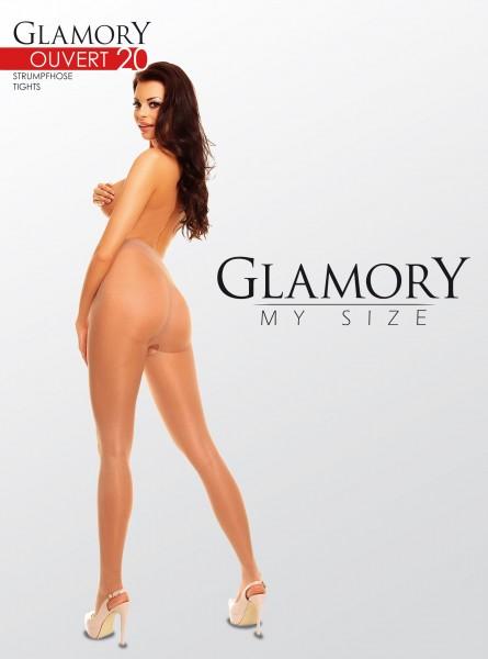 Glamory Ouvert 20 - Glänzende Feinstrumpfhose offen im Schritt