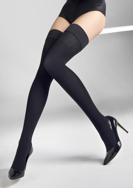 Marilyn Coco J12 - Blickdichte halterlose Strümpfe mit Applikationen im Nieten-Look