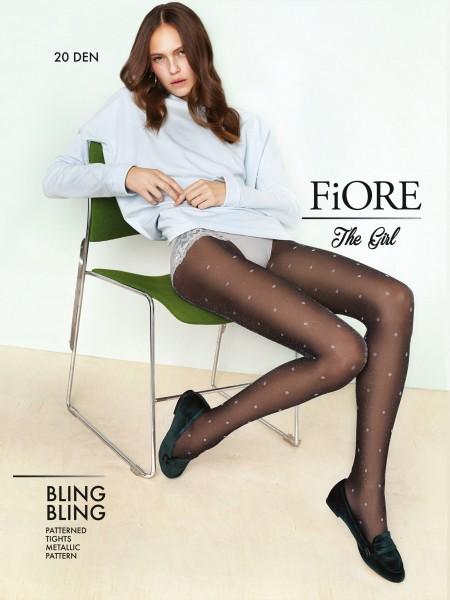 Fiore Bling Bling - Glamourös schimmernde Feinstrumpfhose mit Tupfenmuster