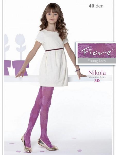 Fiore Maedchenstrumpfhose mit elegantem Blumenmuster Nikola 40 DEN