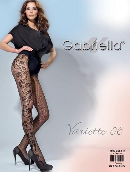 Gabriella Exklusive Netzstrumpfhose Variette mit Blumenrankenmuster