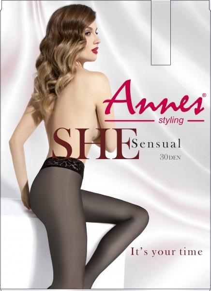 Annes Sensual 30 - Glatte Strumpfhose mit elegantem Spitzenbund
