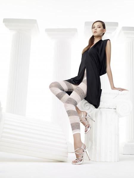 Leichte, schwarz-weiß gemusterte Sommer-Leggings in Ringeloptik Soleil von Omero