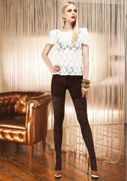 Trasparenze Rubino - Elegant gemusterte Strumpfhose mit hohem Anteil an Baumwolle