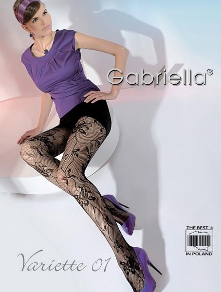 Gabriella Exklusive Netzstrumpfhose Variette mit blumigem Muster