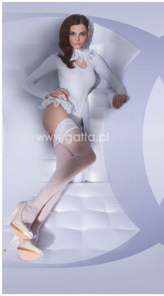 Gatta Wedding Collection - Brautstruempfe mit Blumenrankenmuster und wunderschoenem Zierband Lavinia