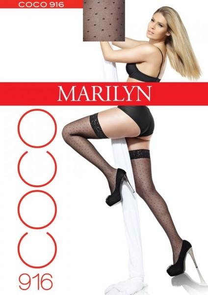 Marilyn Halterlose Strümpfe mit Punktmuster Coco 20 DEN