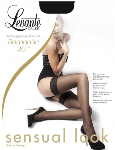 Levante Romantic 20 - Halterlose Strümpfe mit dezent gemustertem Spitzenabchlussband