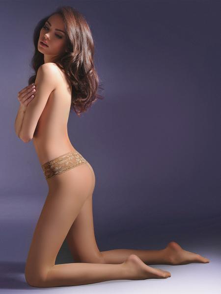 Gabriella Hipsters Exclusive 20 - Glatte Hüftstrumpfhose mit elegantem Taillenbund aus Spitze