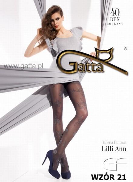 Gatta Elegante Strumpfhose mit dezentem Blumenmuster Lilli Ann 21, 40 DEN