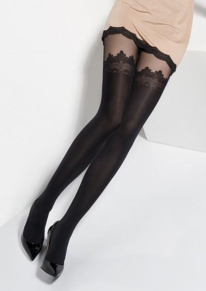 Marilyn Zazu - Strumpfhose in Strumpfoptik und Taillenbund aus Spitze