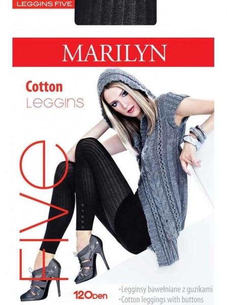 Marilyn Gerippte Baumwoll-Leggings mit zierenden Knoepfen Five, 120 DEN