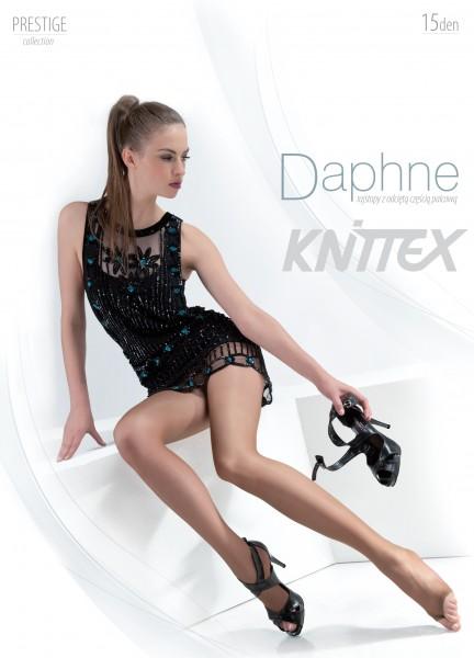 Glatte Feinstrumpfhose mit offener Spitze Daphne von Knittex, 15 DEN