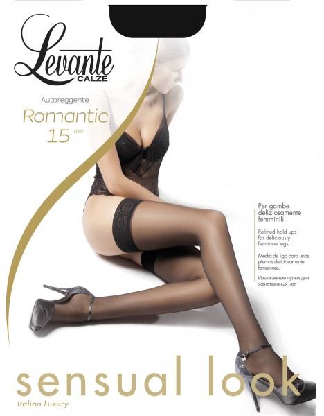 Levante Romantic 15 - Elegante halterlose Strümpfe mit dezent gemustertem Spitzenabchlussband