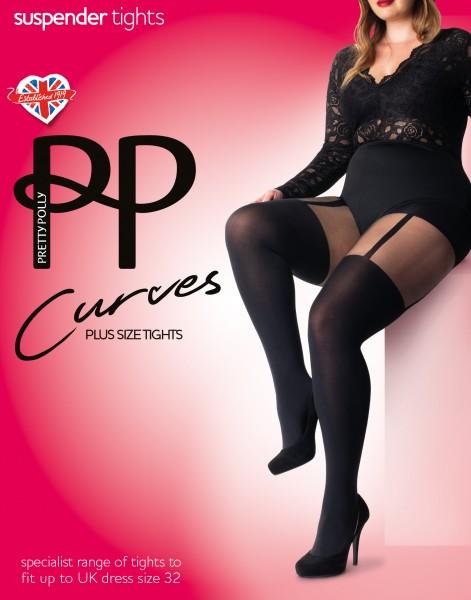 Pretty Polly Strumpfhose in Straps-Optik für Frauen mit weiblichen Rundungen Curves Suspender