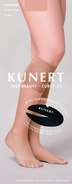 Kunert True Beauty Curvy 20 - Bequeme Kniestrümpfe mit weiter Passform