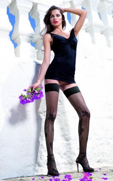 Trasparenze Exklusive halterlose Struempfe mit Blumenrankenmuster Fiore, 20 DEN