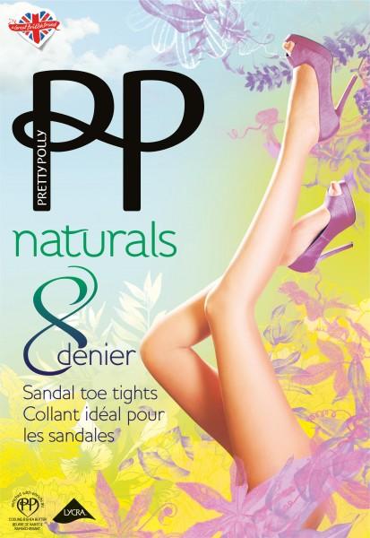Hauchdünne Feinstrumpfhose mit transparenter Fußspitze Naturals 8 DEN von Pretty Polly