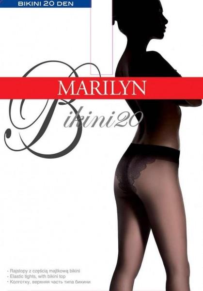 Marilyn Glatte Feinstrumpfhose mit dekorativem Hoeschenteil Bikini , 20 DEN