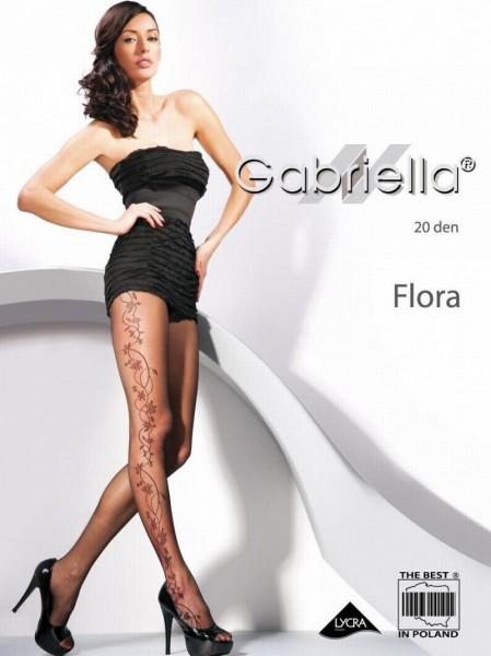 Gabriella Elegante Feinstrumpfhose mit dezentem Blumenmuster Flora 20 DEN