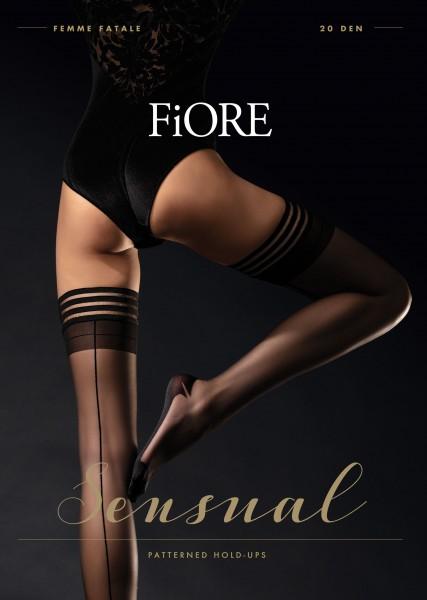 Fiore Femme Fatale - Halterlose Strümpfe mit semi-transparenter Zierspitze, Naht und Hochferse