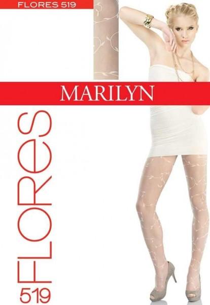 Marilyn Elegante Damenstrumpfhose mit dezentem floralem Muster Flores, 20 DEN