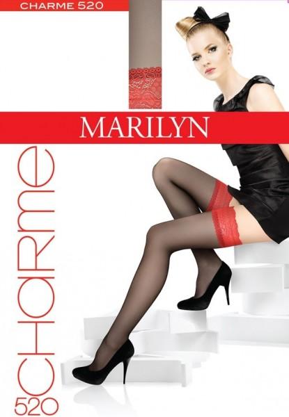 Marilyn Halterlose Struempfe mit rotem Zierband Charme, 15 DEN