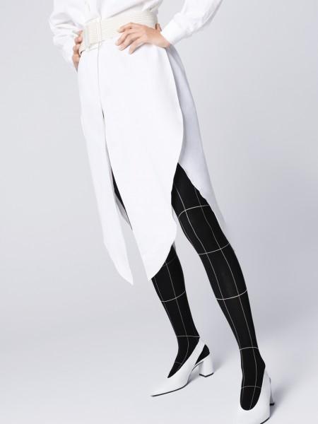 Fiore Palazzo - Strumpfhose mit raffiniertem Karomuster in eleganter Schwarz-Weiß-Optik