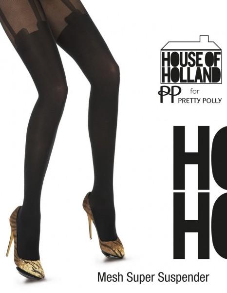 Pretty Polly Modische Strumpfhose in Strapsoptik Mesh Super Suspender von House of Holland