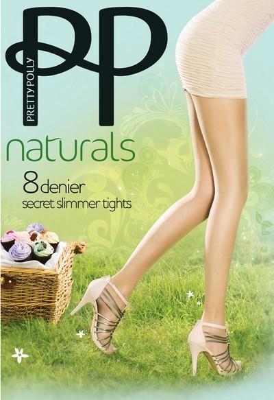 Pretty Polly Hauchduenne, dezent figurformende Sommerstrumpfhose Naturals 8 DEN Secret Slimmer