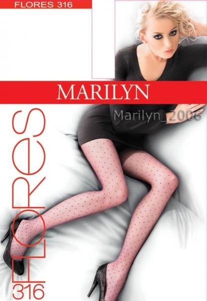 Marilyn Elegante Feinstrumpfhosen mit verspieltem Tupfenmuster Flores, 20 DEN