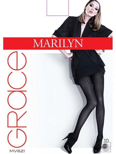 Marilyn Elegante Feinstrumpfhosen mit halbtransparentem Tupfenmuster Grace, 40 DEN