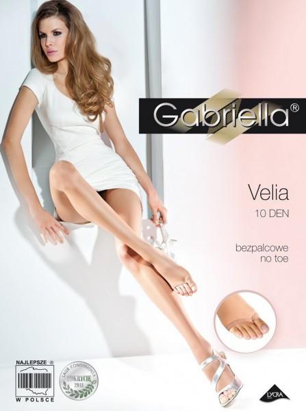 Gabriella Glatte Feinstrumpfhose mit offener Spitze Velia von Gabriella, 10 DEN