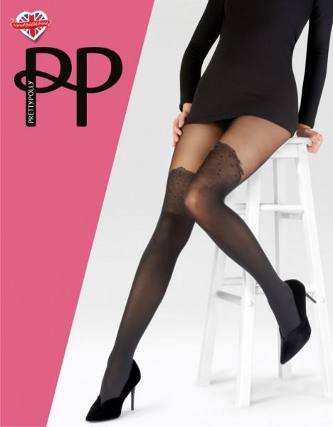 Pretty Polly Sparkle Mock OTK Tights - Feinstrumpfhose mit elegantem Muster in Overknee-Optik