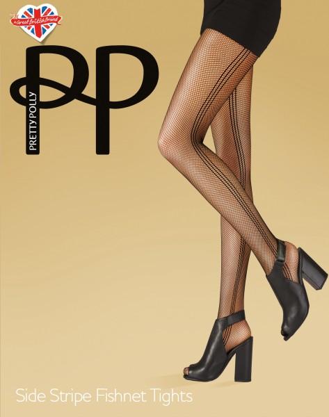 Pretty Polly Side Stripe - Netzstrumpfhose mit seitlichem Streifenmuster
