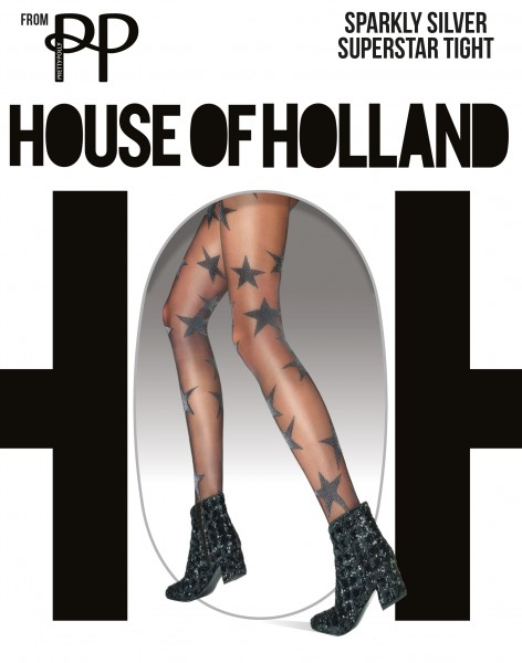 House of Holland for Pretty Polly Sparkly Silver Superstar - Strumpfhose mit glitzernden Sternchen