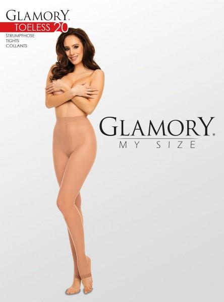 Glamory Toeless 20 - Glänzende zehenfreie Feinstrumpfhose in großen Größen