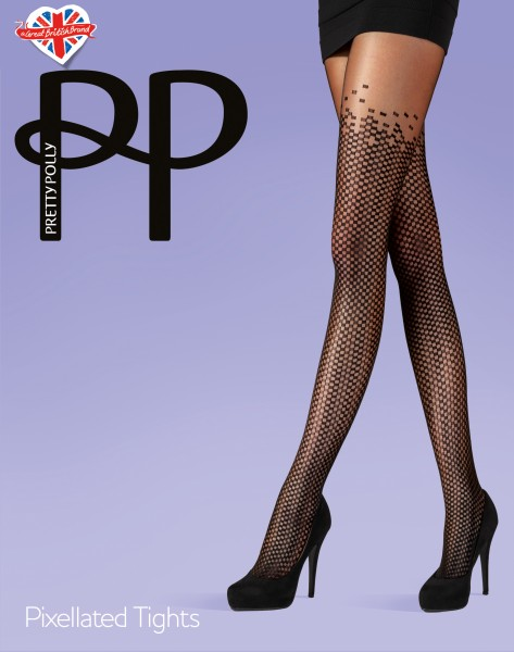 Pretty Polly Pixellated Tights - Feinstrumpfhose mit raffiniertem Muster in Overknee-Optik