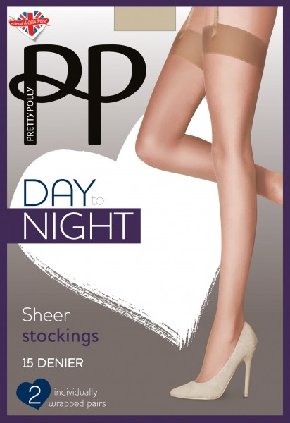 Pretty Polly Day to Night - Klassiche Strapsstrümpfe mit glattem Abschluss