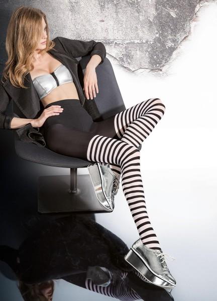 Fiore - Schwarz-weiße Ringelstrumpfhose in raffiniertem Overknee-Look