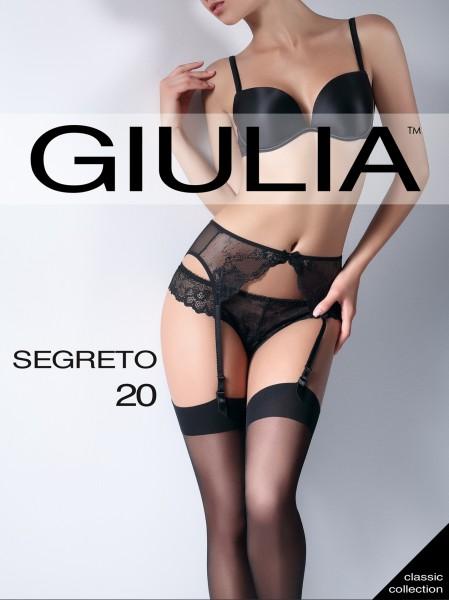 Giulia Segreto 20 - Transparente Strapsstrümpfe mit glattem, flachem Abschluss